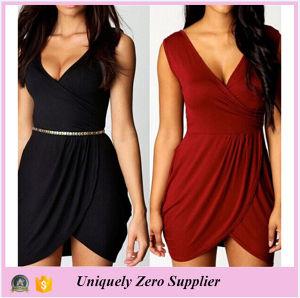 Enough Stock New Style Plus Size Solid Color Elegant V-Neck Dress pictures & photos