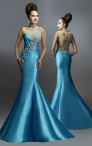 Mermaid Sequins Party Prom Gown Vestidos Blue Evening Dress P14717 pictures & photos