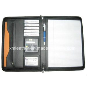 Promotional A4 Zipper Leather Compendium with Calculator pictures & photos