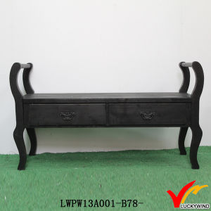 Rustic Stained Wooden Black Benches Indoor with Storage pictures & photos