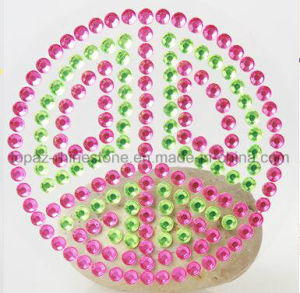 2016 Latest Peace Sign Self Stick Rhinestone Body Stickers (TS-300 peach sign) pictures & photos
