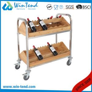 2-Tiers Horizontal Design Wooden Wine Storage Rack with Wheels pictures & photos