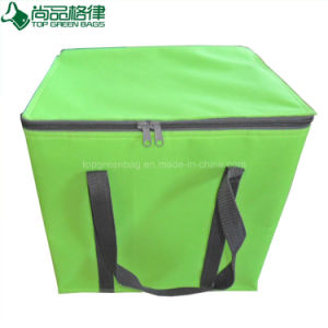 Promotional Custom Zippered Strong Handles Green Insulated Food Lunch Bag pictures & photos