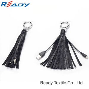 2017 New Design Black Genuine Leather Tassel Keychain USB pictures & photos