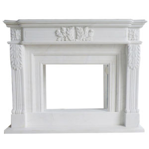 Custom Modern White Marble Carved Stone Fireplace Mantel for Sale pictures & photos