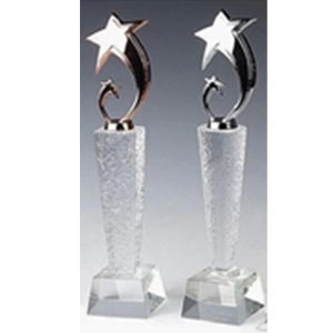 2017 Newest Design Gold Metal Star Crystal Glass Trophy Award pictures & photos