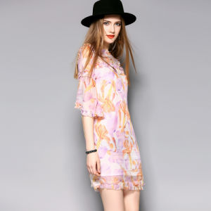Ruffle Lace Puff Sleeve Sexy Floral Printed Ladies Dress pictures & photos
