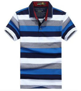 Custom High Quality Men′s Mixed Color Striped Polo Shirt pictures & photos