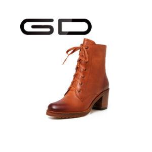 Gd Brown Genuine Leather Women Vintage Combat Half Boots Wholesale pictures & photos