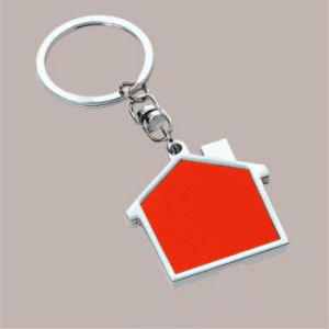 Promotional Customized Printing Laser Engrave Logo House Shaped Keychain (F1098D)