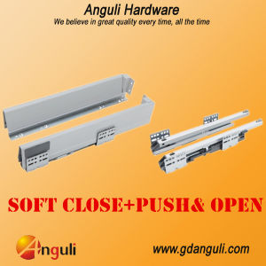 Double Wall Drawer Slide Push&Soft Close Slide pictures & photos