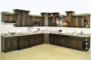 Cupboards Solid Wood Kitchen Furniture Kitchen Cabinet (Birch Stained) pictures & photos