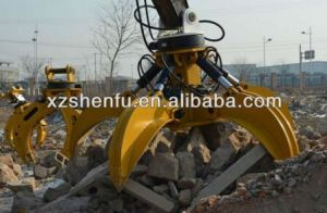 Sf 5 Teeth Hydraulic Rotating Grapple Excavator Orange Grapple / Grab pictures & photos