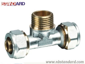 Pex-Al-Pex Fitting/Brass Tee with Male Thread Screw Fitting