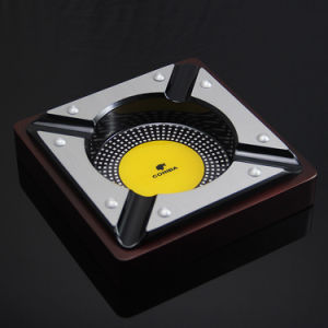 Cohiba Square Ebony Stainless Steel Cigar Holder 4count Ashtray (ES-EB-104) pictures & photos