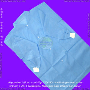 Disposable Medical Coat with Open Cuff or Knitted Cuff pictures & photos