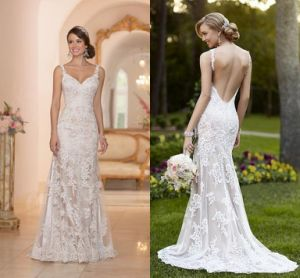 Spaghetti Straps Lace Wedding Gowns Backless Bridal Gown W1471937 pictures & photos