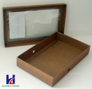 Simple Style with Ribbon and Window Brown Kraft Gift Carton Box pictures & photos