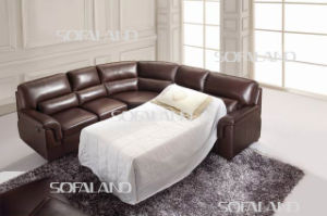 Brown Color Fabric Leather Corner Sofabed pictures & photos