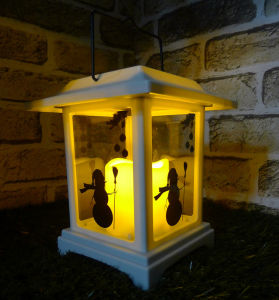Small Xmas White Snowman and Bell Lanterns