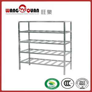 Supermarket Square Tube 5 Tier Stainless Steel Slatted Shelf pictures & photos