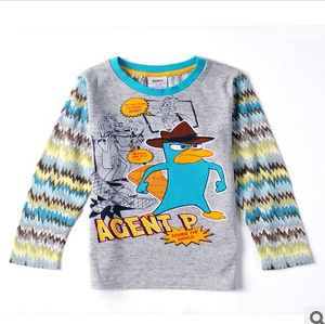 2014 Boy′s Cartoon Printed Stripe Sleeve Brand Children′s Wear Round Neck Long Sleeve T-Shirt