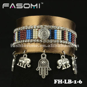 Handmade Braided Mens Women Leather Bracelet with Charms