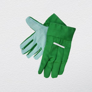 Woven Cloth Palm PVC Polka Dotted Garden Work Glove pictures & photos