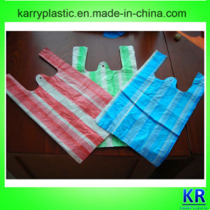 Striped Plastic Shopping Bags with Handle pictures & photos