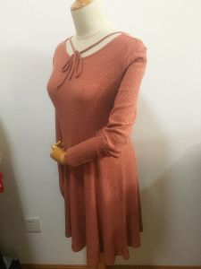 Women Round Neck Long Sleeve Dress Fashion Clothing pictures & photos
