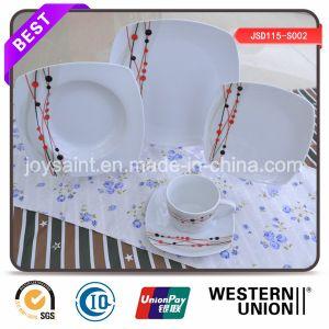 Exquisite Decal Porcelain Squared Dinner Set