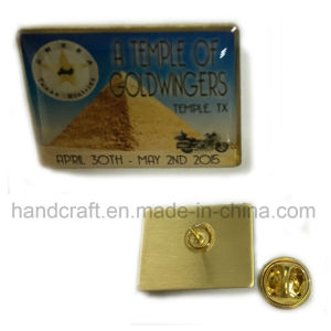 Square Shapel Lapel Pin Imprint with Offset Printing