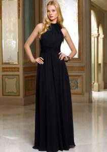 Black Chiffon Halter Popular Bridesmaid Dresses (BD3009) pictures & photos