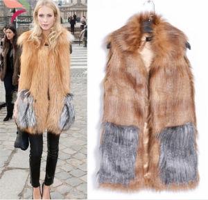 2015 New Women Fur Coat Slim Sleeveless Long Faux Fox Fur Vest pictures & photos