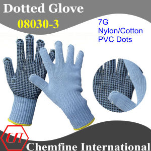 7g Blue Nylon/Cotton Knitted Glove with Black PVC Dots pictures & photos
