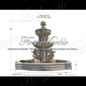 Classical Sunset Red Marble Fountain with Swans & Columus for Craft Mf-329 pictures & photos
