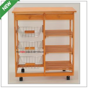 (SM-CC-023) Pine Wood and Wire Basket Cart