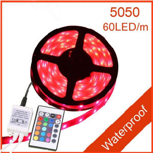 Flexible 5050 Waterproof LED Strip Light, Remote Control RGB