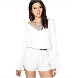 White Chiffon Long Sleeve Sexy Jumpsuit for Women and Ladies OEM pictures & photos