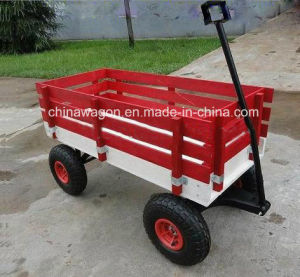 Factory Outlets Center Classical Red Wagon with Wooden Stake pictures & photos