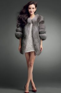 Free Shipping New 2014 Winter High Quality Natural Silver Fox Fur Coat Medium-Long Women Overcoat Russian Fur Coat Woman Winter pictures & photos