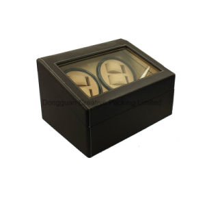 Black Cheap (4+6) Slots PU Leather Watch Winder with Stitching pictures & photos