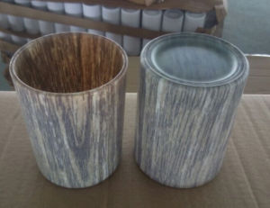 Glass Candle Holder with Wood Grain Transfer Printing pictures & photos