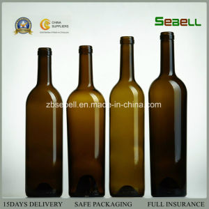 750ml Standard Wine Bottle with Cork in Antique Green Color (NA-008) pictures & photos