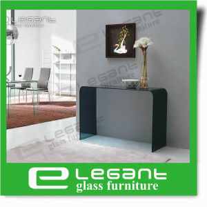Clear Bent Glass Console Table with Tempered Glass Shelf pictures & photos