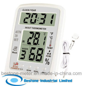 Hygro-Thermometer Clock & Calendar with Indoor and Outdoor Temperature (KT203) pictures & photos