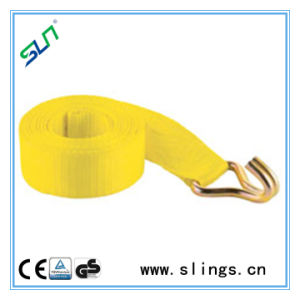 Yellow Winch Straps with Double J Hook on One Hand pictures & photos