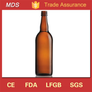 High Quality Amber 750ml Glass Wine Bottle with Cork Lid pictures & photos