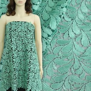 Green Leaflet Design Polyester Chemical Lace for Garment