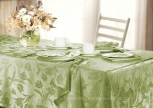 100% Polyester/Two-Tone Polyester Solid Jacquard Tablecloth pictures & photos